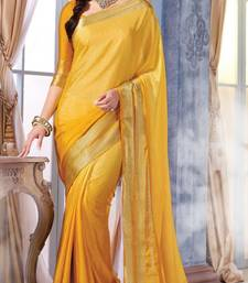 Buy Yellow Plain Silk saree with blouse wedding-saree online