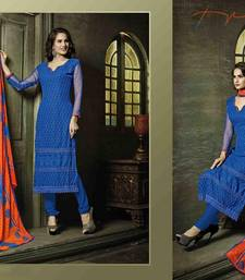 Buy Blue embroidered chiffon semi stitched salwar with dupatta pakistani-salwar-kameez online