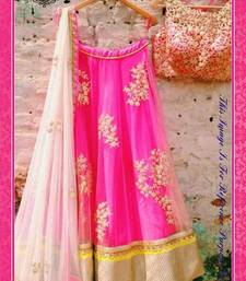 Buy pink embroidered net unstitched bollywood-lehengas bollywood-lehenga online