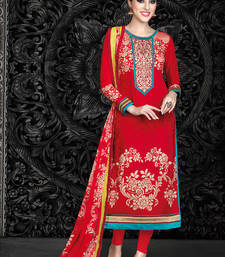 Buy Red printed crepe semi stitched salwar with dupatta party-wear-salwar-kameez online