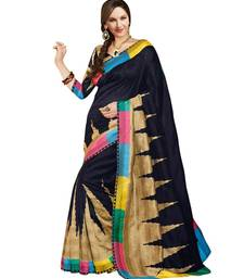 Buy Black embroidered cotton_silk saree with blouse art-silk-saree online