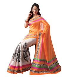 Buy Orange and White embroidered cotton_silk saree with blouse art-silk-saree online