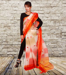orange  and  offwhite hand_woven Cotton saree with blouse shop online