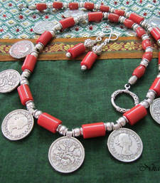 Buy Red coin Tribal Necklace Necklace online