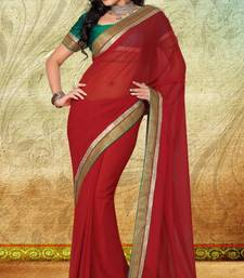 Buy Red Faux Georgette Saree With Blouse georgette-saree online