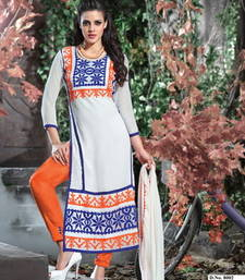 Buy white embroidered Cotton semi stitched salwar with dupatta pakistani-salwar-kameez online