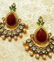 Buy Gorgeous Bollywood Style Rama Green Stone Pearl Earrings danglers-drop online