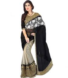 Buy black embroidered georgette saree with blouse below-1500 online