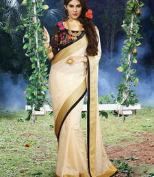 Buy Off White and Black woven art_silk saree with blouse art-silk-saree online