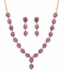 Buy silver alloy with gold plated stones sets necklace-set online