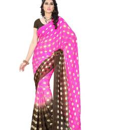 Buy Pink and Brown brasso chiffon saree with blouse brasso-saree online