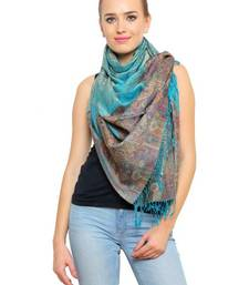 Buy Uniscarf Turquoise floral Printed Modal Shawl shawl online