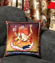 Buy Sankatahara Ganesh Motif Printed Velvet Cushion Cover pillow-cover online