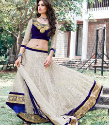 Buy White and Blue Embroidery Net unstitched lehengas-choli navratri-lehenga-chaniya-choli online