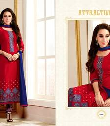 Buy Red and Blue embroidered cotton semi stitched salwar with dupatta pakistani-salwar-kameez online