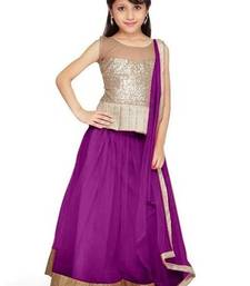 Buy Purple  Embroidered Net georgette Designer Kid'sLaahenga Choli With Blouse navratri-lehenga-chaniya-choli online