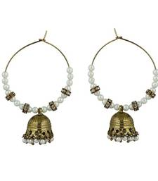 Buy Golden plated moti earring hoop online