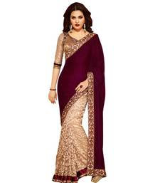 Buy Magenta embroidered velvet saree with blouse brasso-saree online