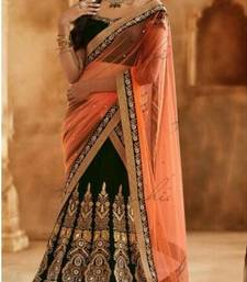 Buy Orange and Black Georgette and Net Lehenga With Velvet Blouse bollywood-lehenga online