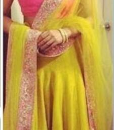 Buy Lime Green Silk Lehenga With Net Dupatta and Silk Blouse bollywood-lehenga online