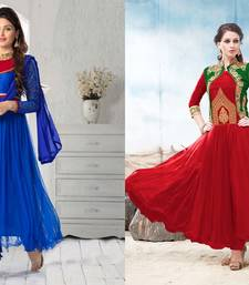 Buy Blue  and  Red Embroderied Soft Net semi_stitched salwar dress-material online
