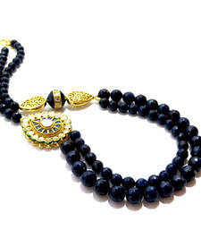Buy Dark Blue Agate & Kundan Necklace Necklace online