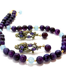 Buy Purple & Blue Agate Necklace & Earring necklace-set online