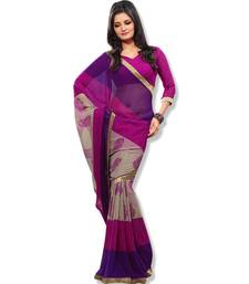 Buy Fabdeal Pink & violet Colored chiffon saree with unstitched blouse chiffon-saree online