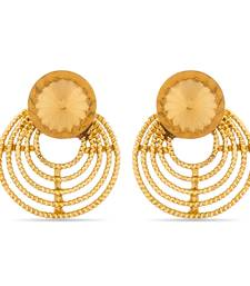 Buy Luxor Designer Orange Gold Plated Earrings stud online