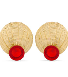 Buy Luxor Gold Plated Red Earrings  stud online