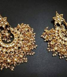 Buy white pearl earring in kundan for traditional occasion and weddings danglers-drop online