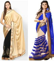 Buy golden and blue embroidered georgette saree with blouse party-wear-saree online