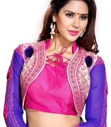 Buy Blue N Pink Embroidered Art Silk Designer Unstitched Blouse Piece crop-top online