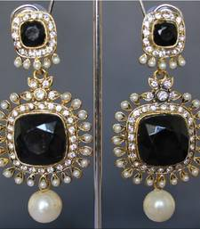 Buy Pearl drop Black Ruby earrings hoop online