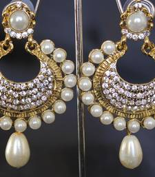 Buy Beautiful Pearl and stone earrings hoop online