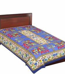 Buy Jaipuri Blue Color Traditional Horse Design Cotton Single Bedsheet bed-sheet online