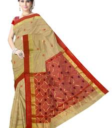 Buy Beige Handwoven Silk Cotton Chanderi Saree with Blouse chanderi-saree online