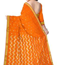 Buy Orange Handwoven Silk Cotton Chanderi Saree with Blouse chanderi-saree online