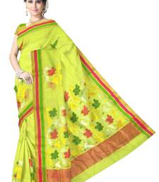 Buy Lemon Green Handwoven Silk Cotton Chanderi Saree with Blouse chanderi-saree online