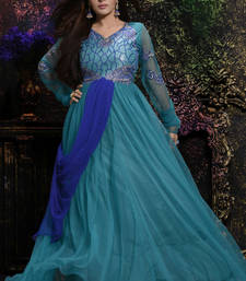 Buy Sky Blue embroidered net semi stitched party-wear-gowns party-wear-gown online