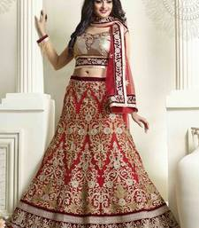 Buy Red embroidered net unstitched lehenga bridal-lehenga online