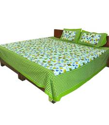 Buy Green Floral Printed Double Bedsheet n Pillow Covers 116 bed-sheet online