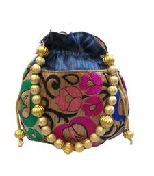 Buy Leaf Design Small Raw Silk Potli (Blue) potli-bag online