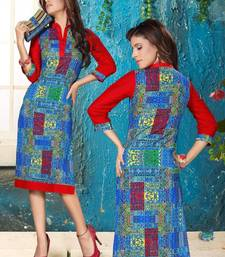 Buy Fab Cotton Printed Blue & Red coloured Casual Designer Stitched Kurtis long-kurti online
