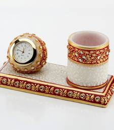 Buy Marvel In Marble - Gold Embossed Pen Stand With Watch_50 other-home-accessory online