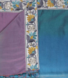 Buy Hand-made Aqua Blue, Amethyst and Sage Coloured 100% silk Shawl shawl online