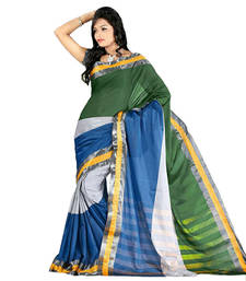 Buy Dark Blue hand_woven cotton saree with blouse cotton-saree online