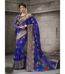 Buy Blue embroidered cotton saree with blouse cotton-saree online