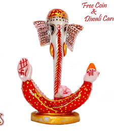 Buy Resin Crafted Half Ganesh Idol with handpainted designs in Red and gold birthday-gift online