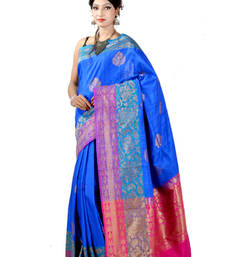 Buy Blue woven silk saree with blouse banarasi-silk-saree online